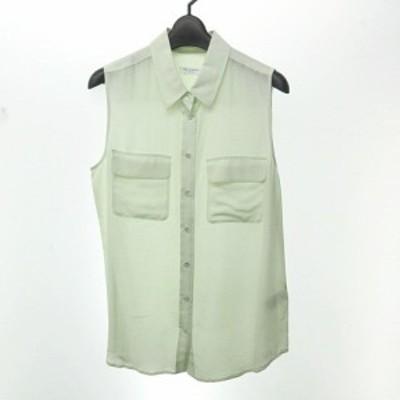 【中古】エキプモン EQUIPMENT シルク100% ノースリーブ シャツ ブラウス ライトグリーン S 0309 レディース