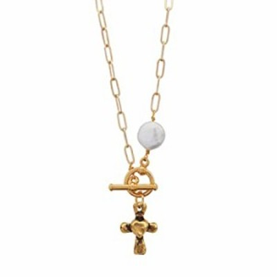 Lizzy James Goldsmith Gold Chain Necklace with Gold Heart Cross Charm and Freshwater Pearl