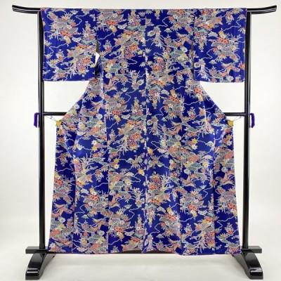 小紋 美品 優品 松竹梅 間垣 青紫 袷 160cm 64cm M 正絹 中古