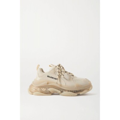 バレンシアガ Balenciaga レディース スニーカー シューズ・靴 triple s clear sole logo-embroidered leather, nubuck and mesh sneakers
