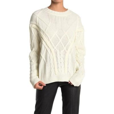 ドゥ アンド ビー レディース ニット&セーター アウター Cable Knit Crew Neck Sweater OFF WHITE