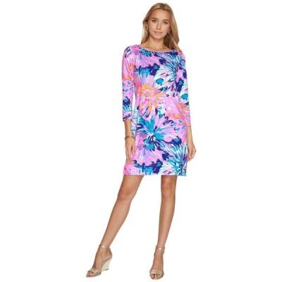 ワンピース リリーピュリッツァー Lilly Pulitzer MARLOWE T-shirt DRESS MULTI OFF TROPIC REDUCED Blue Pink S