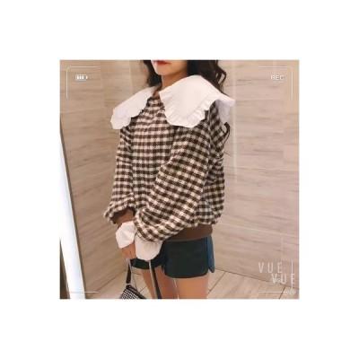【送料無料】韓国風 レトロチェック 人形の襟 ヘッジセーター 女 秋冬 ルース レジ   346770_A63824-1852333