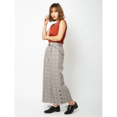 ベルト付き裾釦ワイドパンツ
