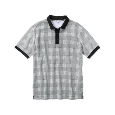 半袖総柄カノコポロシャツ【3L以上お腹ゆったり】 ポロシャツ, Tops