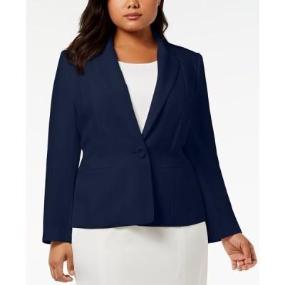 カスパー ジャケット&ブルゾン アウター レディース Plus Size One-Button Crepe Blazer Indigo