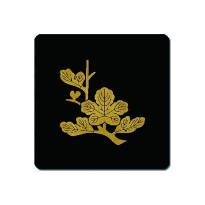 家紋シール 金紋黒地 枝梶の葉 15cm x 15cm KS15-1700