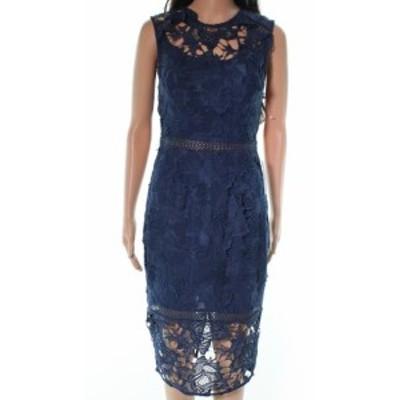 ファッション ドレス Cooper St NEW Blue Lustrious High-Neck Women 4 Laced Sheath Dress