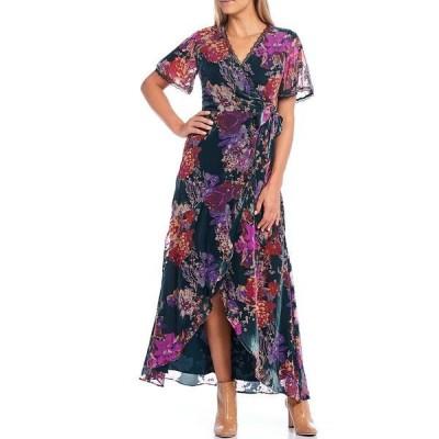 ハーリン レディース ワンピース トップス Floral Burnout Velvet Lace Trim Detail Hi-Low Faux Wrap Dress Teal Multi