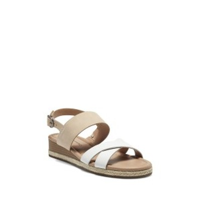 ラッキーブランド レディース サンダル シューズ Women's Waeka Crisscross Strap Wedge Sandals White