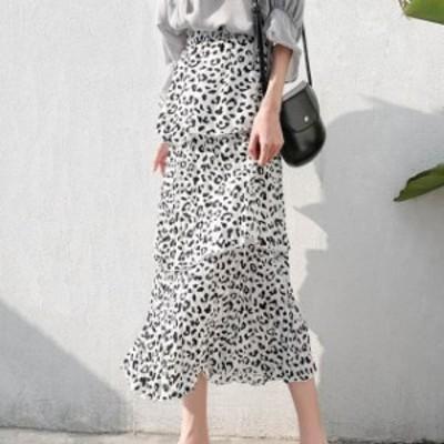 人気 売れ筋 スカート ロング丈 フリル 豹柄 モノトーン ガーリー フェミニン シフォン hf02421