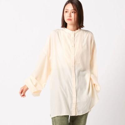 アンレリッシュ UNRELISH シャイニー透けシャツ (アイボリー)