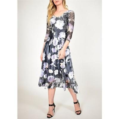 コマロフ レディース ワンピース トップス Lace Sleeve Painted Poppy Floral Charmeuse Midi Dress