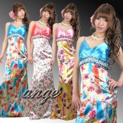 LD1210-501/キャバドレス/サテンビジュ花柄プリントバックキュートロングドレス