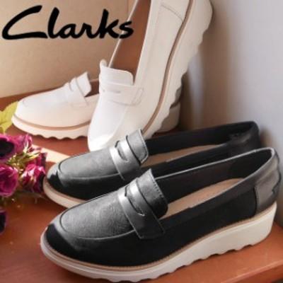 送料無料 レディース スリッポン ローカット ローファー クラークス Clarks Clarks 399G 本革 レザー ウエッジソール ウェッジパンプス
