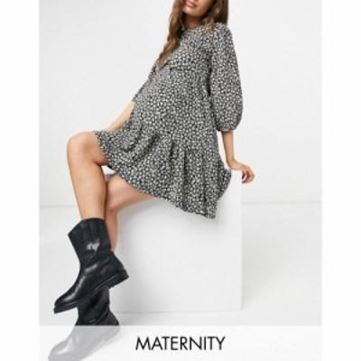 ニュールック New Look Maternity レディース ワンピース 七分袖 ティアードドレス ワンピース・ドレス 3/4 Sleeve Tiered Dress In Blac