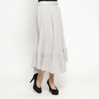 スタイルブロック STYLEBLOCK シフォンプリーツ切替スカート (グレー)