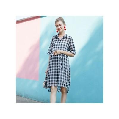 ギンガムチェック 襟付き マタニティドレス フォーマル パーティードレス お呼ばれドレス kh-1223