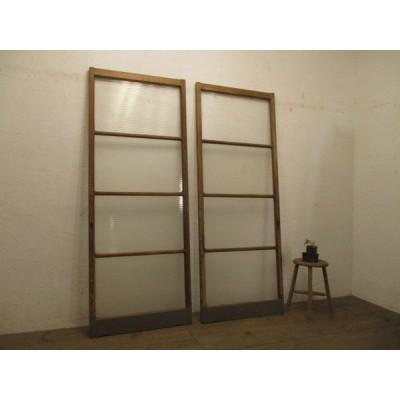 タE864◆【H183cm×W70,5cm】×2枚◆銀モールガラスのレトロな古い木製引き戸◆建具ガラス戸リノベーションL下