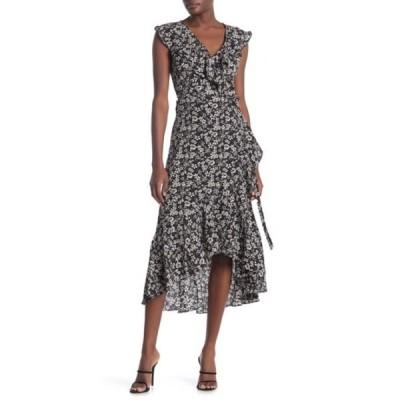 マックスタジオ レディース ワンピース トップス Patterned Ruffle Wrap Midi Dress BLACK/MAIZE DITSY ORCHID