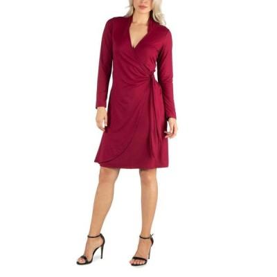 24セブンコンフォート レディース ワンピース トップス Women's Knee Length Long Sleeve Wrap Dress