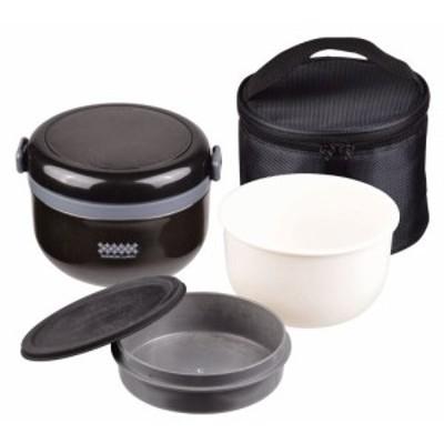 パール金属 保温 弁当箱 420ml 茶碗 約 2 杯分 バッグ付 どんぶり ランチ ブラック ほかどん HB-262