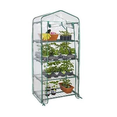 (新品) Best Choice Products 4-Tier 27x19x63-inch Mini Greenhouse for Gardens, Patios, and Backyards w/Plastic Cover, Roll-Up Zipper Do