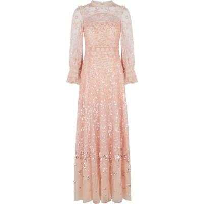 ニードル アンド スレッド Needle & Thread レディース パーティードレス ワンピース・ドレス light pink sequin-embellished tulle gown Pink
