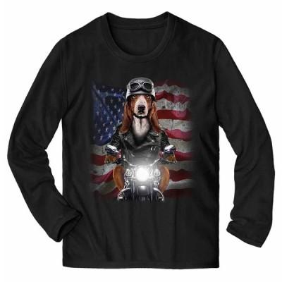 【バセットハウンド ドッグ 犬 いぬ バイク 星条旗 アメリカ】メンズ 長袖 Tシャツ by Fox Republic