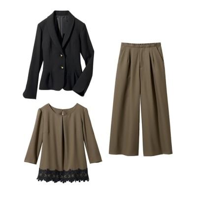 3点セット(ジャケット+ブラウス+パンツ)(プライベートレーベル) セレモニースーツ(式服・受験・七五三・発表会)women's suits, plus size women's suits