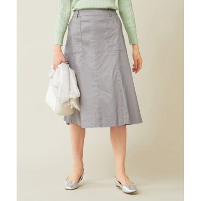 L size ONWARD(大きいサイズ)/エルサイズオンワード 【洗える】ラミーコットンストレッチ スカート ライトグレー系 T13