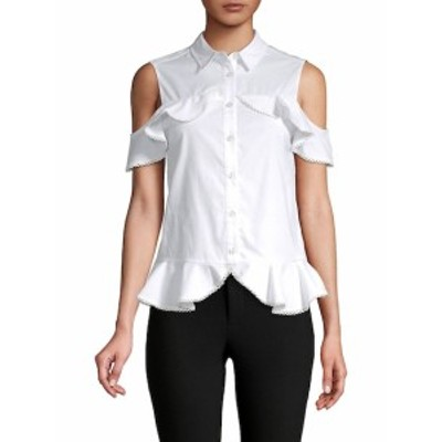 ジョナサンシンカイ レディース トップス シャツ Cold-Shoulder Ruffled Cotton Top
