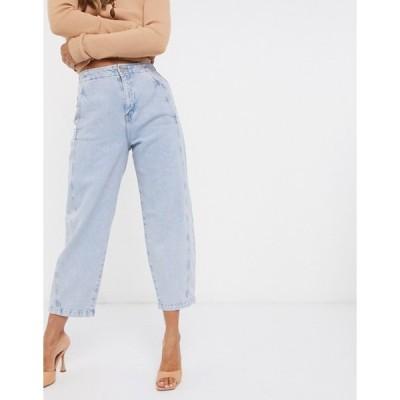 マンゴ レディース デニムパンツ ボトムス Mango cropped washed jeans in light blue
