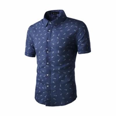Allegra K メンズ シャツ 半袖 ボタンダウン 綿 ビジネス カジュアル ダークブルー M/40