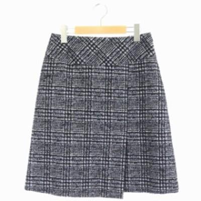 【中古】アンタイトル UNTITLED タイトスカート ウール ツイード 膝丈 2 紺 黒 /AO ■OS レディース