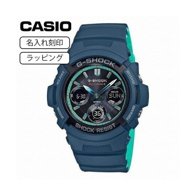 CASIO カシオ 腕時計 Gショック G-SHOCK メンズ 電波 ソーラー 電波時計 ネイビーブルー AWG-M100SCC-2A 【名入れ刻印】
