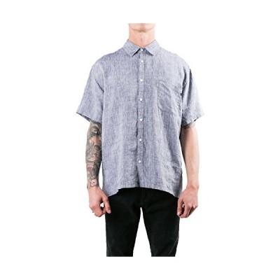 Rusty メンズ カバーボタン 半袖シャツ US サイズ: Medium カラー: ブルー