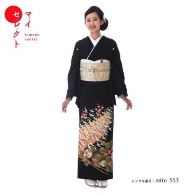黒留袖レンタル mito_553 / 光琳鶴に松と花紋