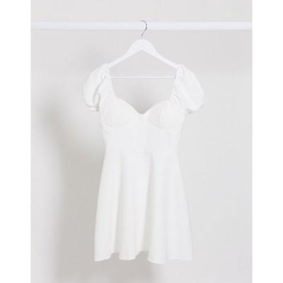 ラスーラ ミディドレス レディース Lasula puff sleeve dress in white エイソス ASOS ホワイト 白
