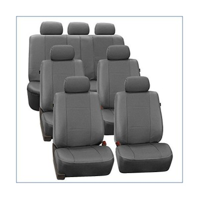 FH Group PU007217 Deluxe Leatherette 3 Row Seat Covers (Gray) 7 Passenger Set - Universal Fit for Cars, Trucks & SUVs 並行輸入品