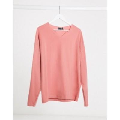 エイソス メンズ シャツ トップス ASOS DESIGN oversized long sleeve t-shirt with notch neck in pink Canyon rose