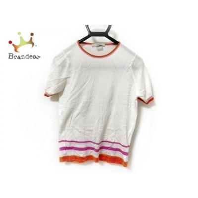 ジョンスメドレー JOHN SMEDLEY 半袖セーター サイズS レディース アイボリー×オレンジ×ピンク   スペシャル特価 20210106
