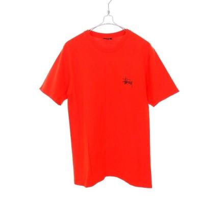 【中古】ステューシー STUSSY ロゴプリント Tシャツ カットソー 半袖 S オレンジ 橙 春夏 メンズ 【ベクトル 古着】