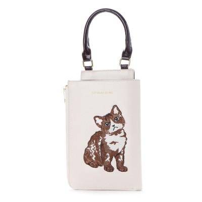 スパイラルガール SPIRAL GIRL 猫ちゃん刺繍2WAYスタイルミニバッグ (アイボリー)