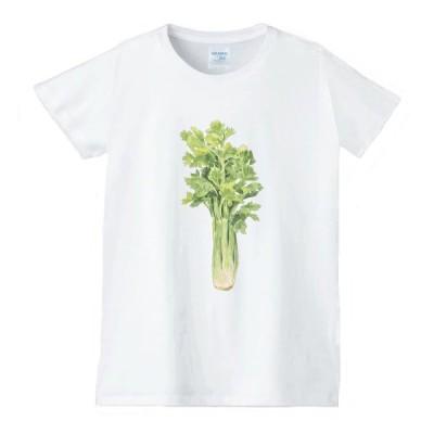 セロリ 食べ物 野菜 スイーツ Tシャツ 白 レディース 女性用 jts68