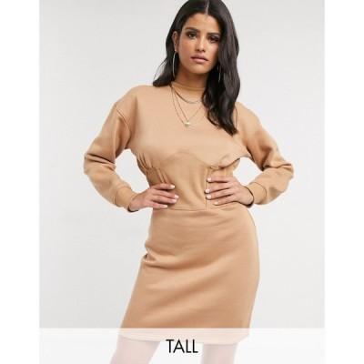 ミスガイデッド Missguided Tall レディース ワンピース ワンピース・ドレス corset sweat dress in camel キャメル