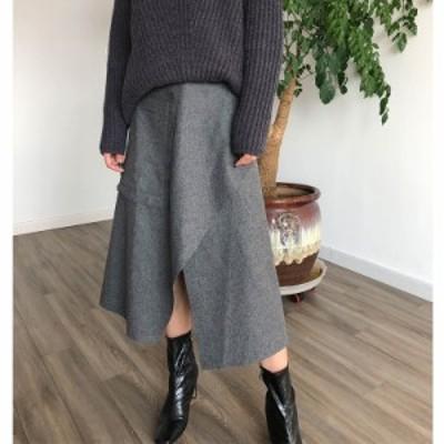 ウールミックス ラップスカート