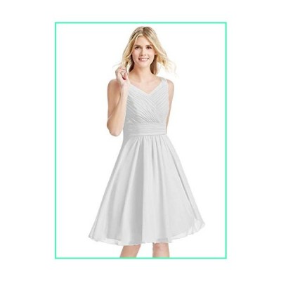 KKarine Plus Size A Line V Neck Ruched Chiffon Short Homecoming Dress Girls Prom Party Gown 24 Plus White並行輸入品