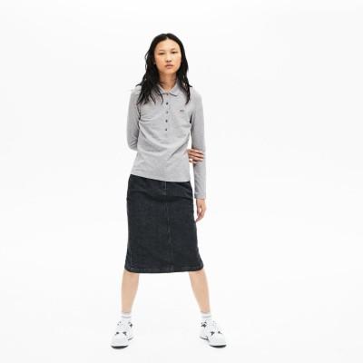 ラコステ LACOSTE ストレッチ ポロシャツ (長袖) (ヘザーグレー)
