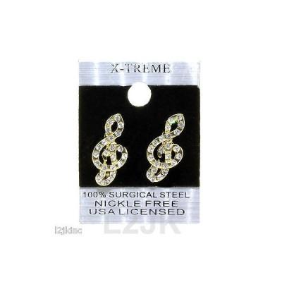イヤリング スタッド アメリカン ジュエリー ヒップホップ Gold Tone Clear Iced Out Hip Hop Music Notes Shape CZ Womens Stud Bling Earrings